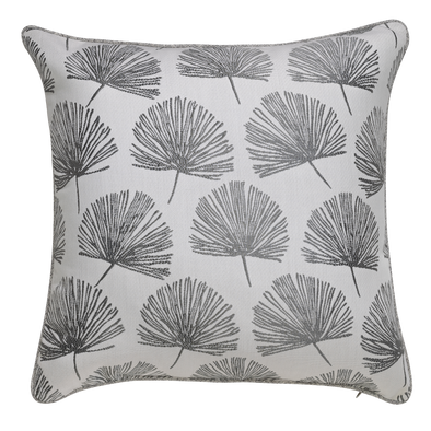 Leaf Fan Grey Pattern Throw Pillow