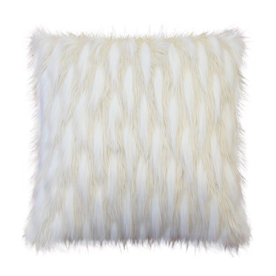 Light Peacock Faux Fur Throw Pillow