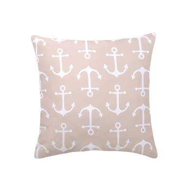 Nautical Anchor Beige and White Outdoor Patio Throw Pillow