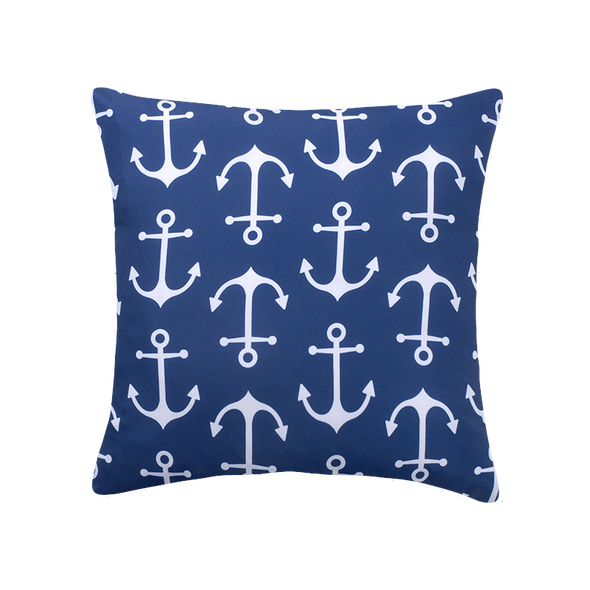 Nautical Anchor Navy and White Outdoor Patio Throw Pillow