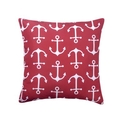 Nautical Anchor Burgundy and White Outdoor Patio Throw Pillow
