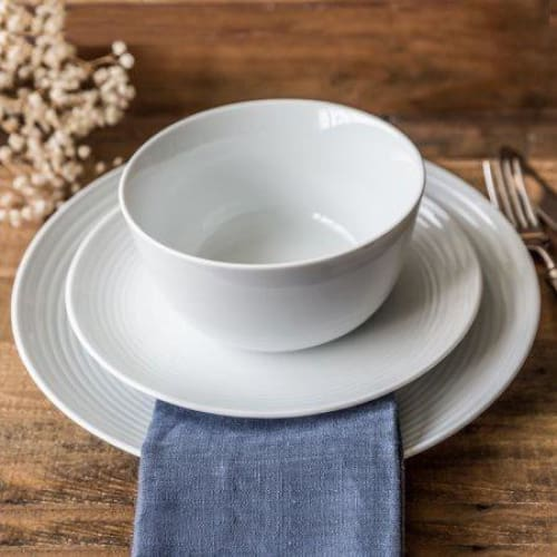 12 Piece Porcelain Round Ribbed Set, White - Keuka Outlet