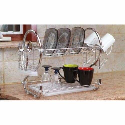 2-Tier 22 Chrome-Plated Stainless Steel Dish Rack (4-Piece)