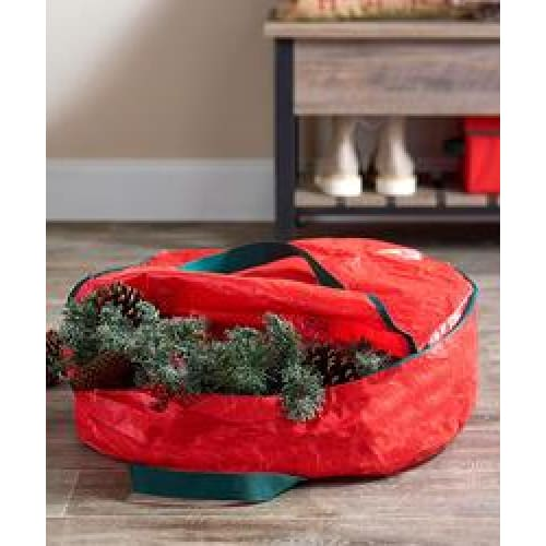 30 Wreath Storage Bag - Red - Christmas