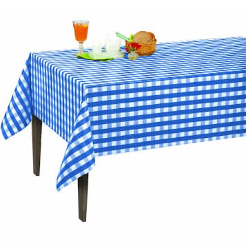 55in X 102in Vinyl Tablecloth Blue Checkered Design Indoor/Outdoor Tablecloth - Kitchen