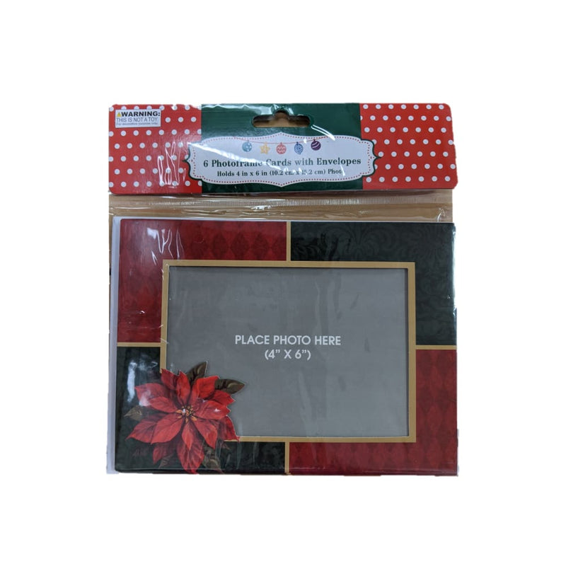6 Photo Frame Cards with Envelopes - Poinsettia - Office/School/Craft Supplies