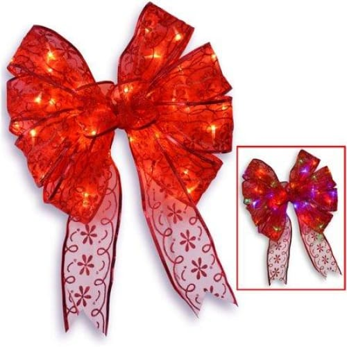 "9"" Red Bow Tree Topper with Dual Color LED Lights - Keuka Outlet"