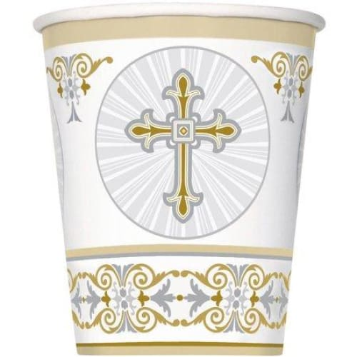 9oz Paper Gold and Silver Radiant Cross Religious Cups, 8ct - Keuka Outlet