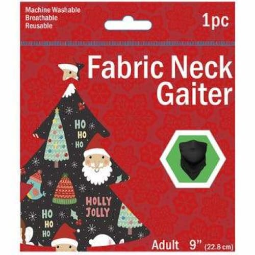 Adult Christmas Theme Washable Neck Gaiter - Black (Santa Claus & Christmas Tree Décor) - Clothing