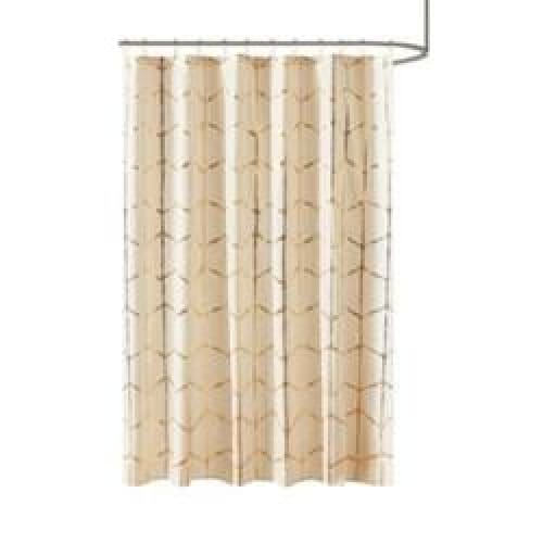 Arielle Printed Shower Curtain Ivory/Gold - Bath
