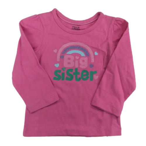 Baby Big Sister Long Sleeve Shirt - 12M / Pink - Clothing