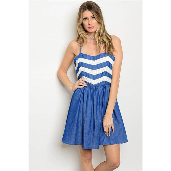 BLUE DENIM WHITE DRESS - Keuka Outlet