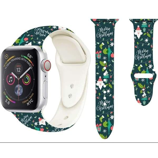 Christmas Pattern Soft Silicone Replacement Band For Apple Watch 12345 42/44mm - Electronics