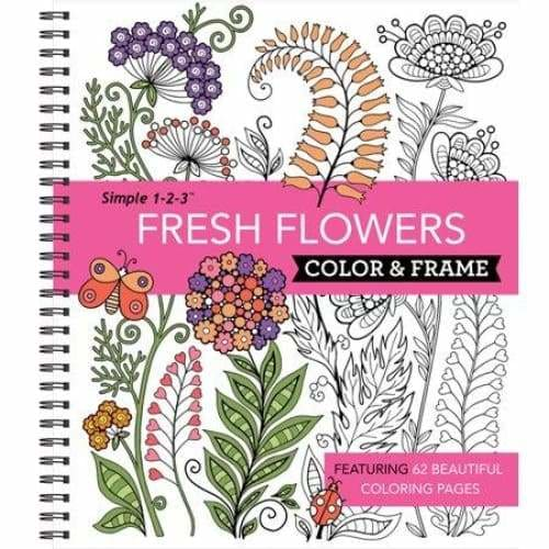 Color and Frame Coloring Book Fresh Flowers - (Spiral_bound)