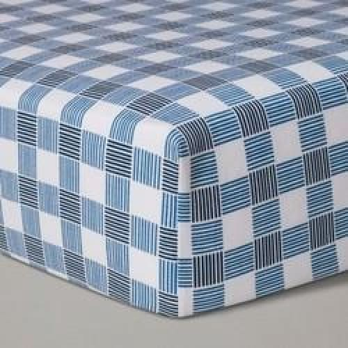 Crib Fitted Sheet Gingham - Cloud Island  Blue - Keuka Outlet
