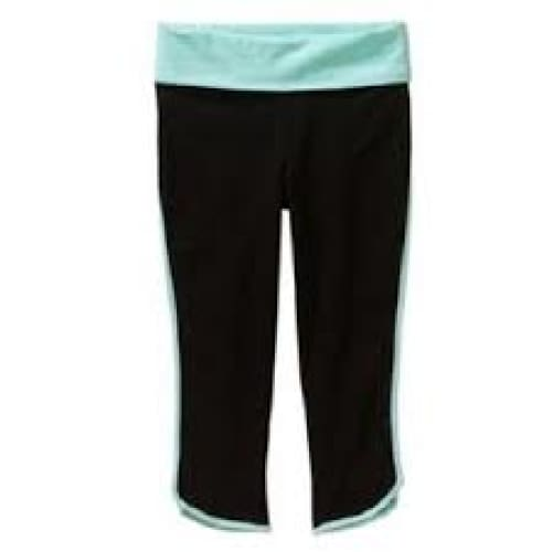 Danskin Now Girls' Binded Yoga Capri Pant - XL (14-16) / Black Soot/Sky Blue - Clothing