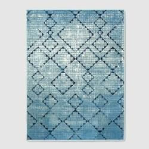 Distressed Diamonds Blue Outdoor Rug - 5x7 - Light Blue - Keuka Outlet