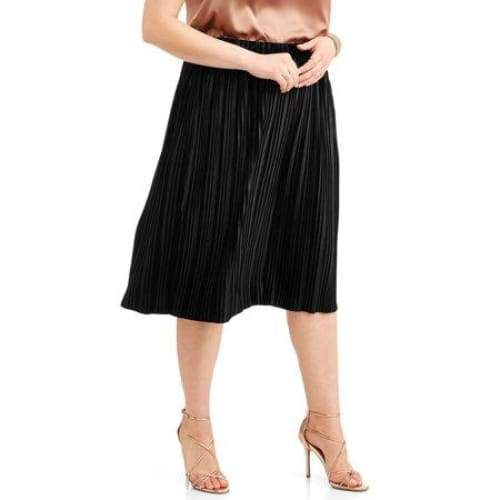 Faded Glory Women's Plus Pleated Velour Flowy Midi Skirt - Keuka Outlet