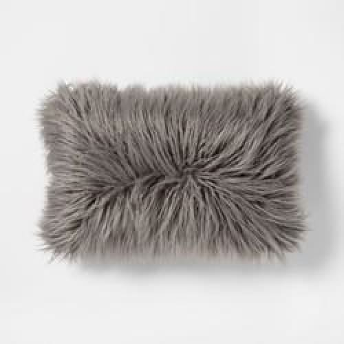 Faux Fur Lumbar Pillow Gray - Bedding