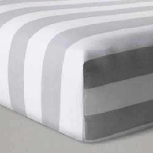 Fitted Crib Sheet Rugby Stripes - Cloud Island  Gray - Keuka Outlet