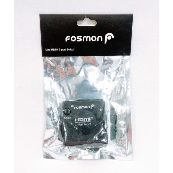 Fosmon 3 Port HDMI 3D Ultra Mini Switch - 3 In 1 Out (Auto Switching Function) - Black - Keuka Outlet