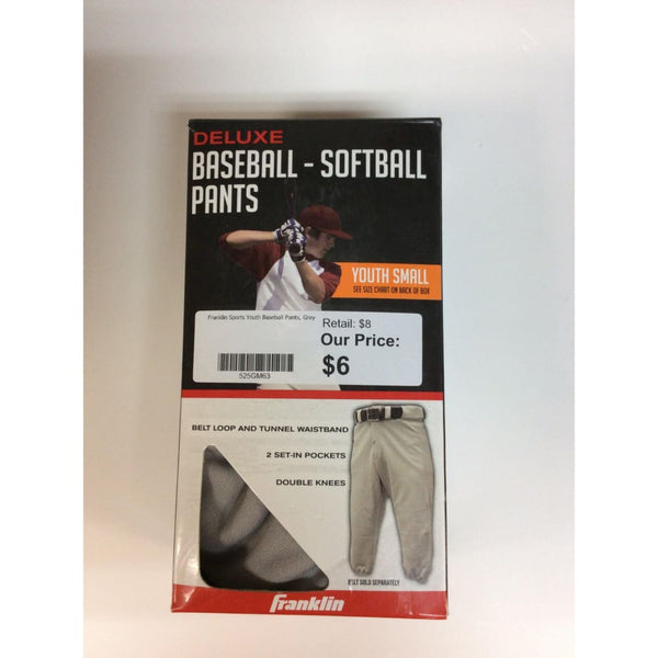 Franklin Sports Youth Baseball Pants, Grey - Keuka Outlet