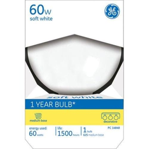 GE Soft White 60W Decorative G25 Bulb - Keuka Outlet