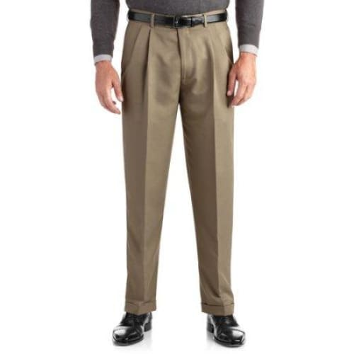 George Big Men's Pleated Cuffed Microfiber Dress Pant With Adjustable Waistband - Keuka Outlet