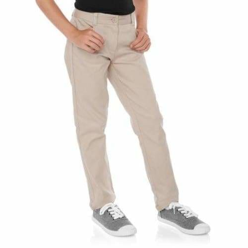 Girls School Uniform Skinny Pants - 6 / Warm Beige - Clothing