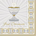 Gold and Silver Radiant Cross First Communion Party Napkins, 16ct - Keuka Outlet