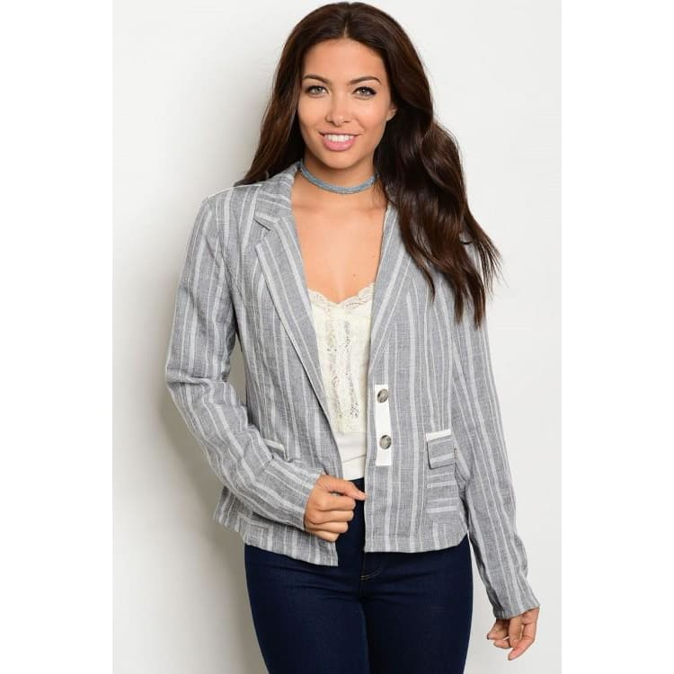 GRAY STRIPES BLAZER - Keuka Outlet
