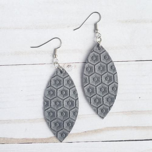 Grey Honeycomb Leather Petal Earrings - Accessories