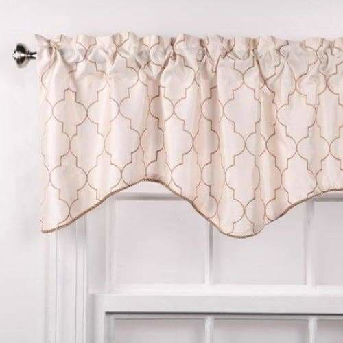 Hudson 52 by 17-Inch Embroidered Lined Valance with Cording Vanilla