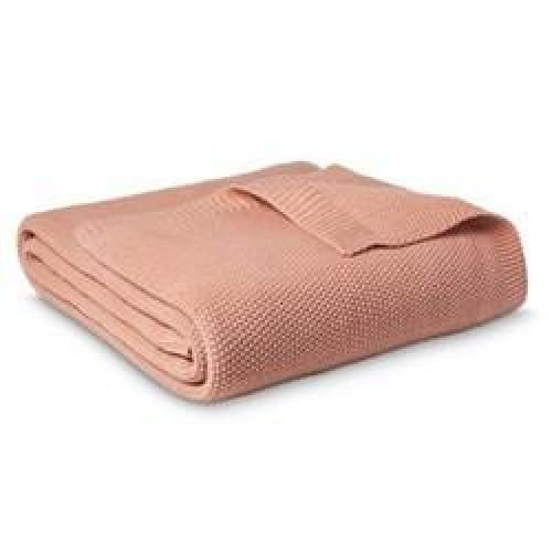 King Sweater Knit Bed Blanket Coral - Bedding