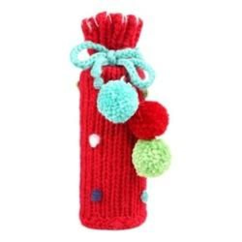 Knit Pompom Wine Holder - Red - Keuka Outlet