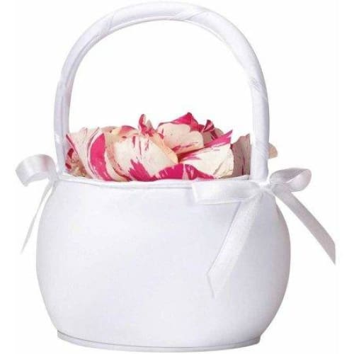 Lillian Rose Round Satin Flower Girl Basket - White - Keuka Outlet