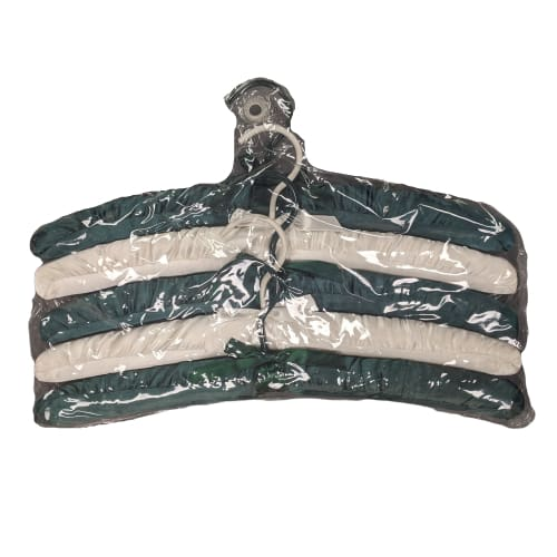 Luxurious Padded Satin Padded Clothes Hangers 5 Pack Green/Cream - Home