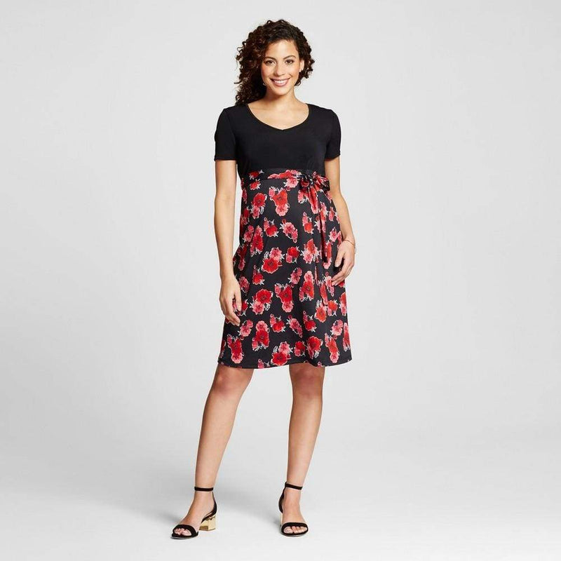 Maternity Floral Print Short-Sleeve V-Neck Belted Blouse - Keuka Outlet