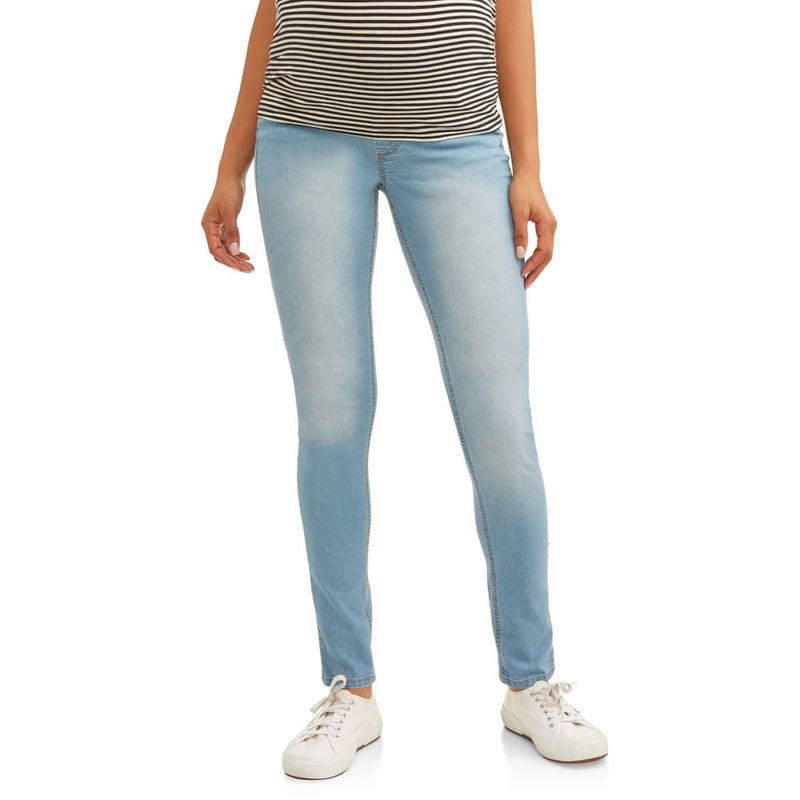 Maternity Oh! Mamma Skinny Jeans with Demi Panel - 2X / Power Wash - Clothing