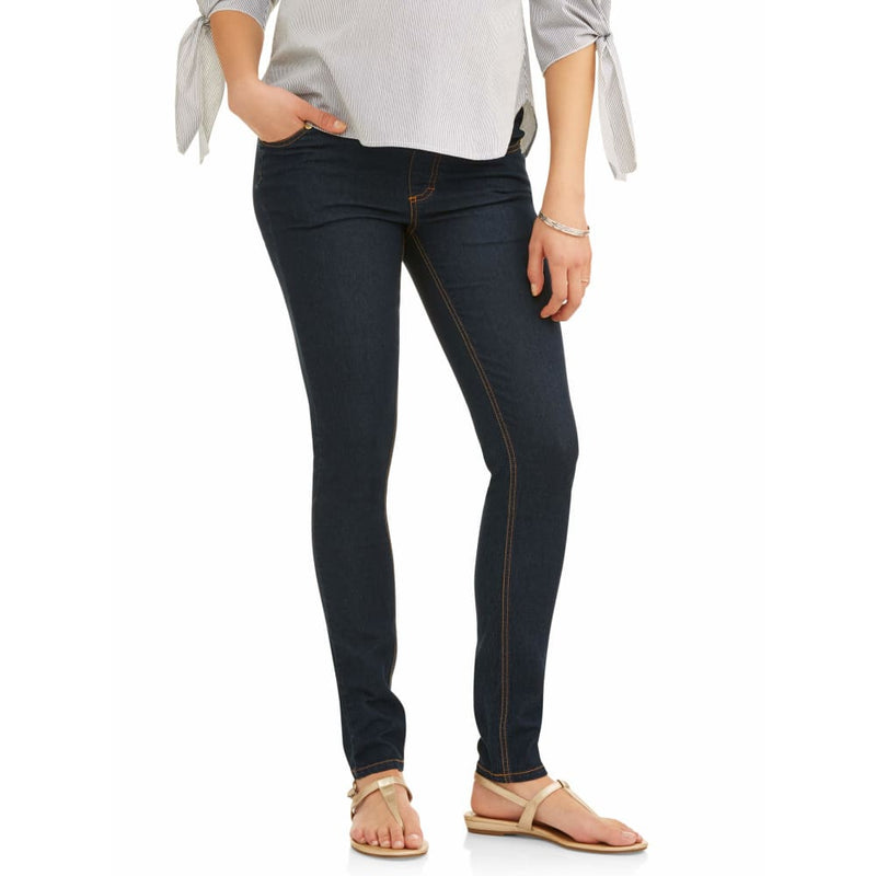 Maternity Oh! Mamma Skinny Jeans with Demi Panel - L / Rinse - Clothing