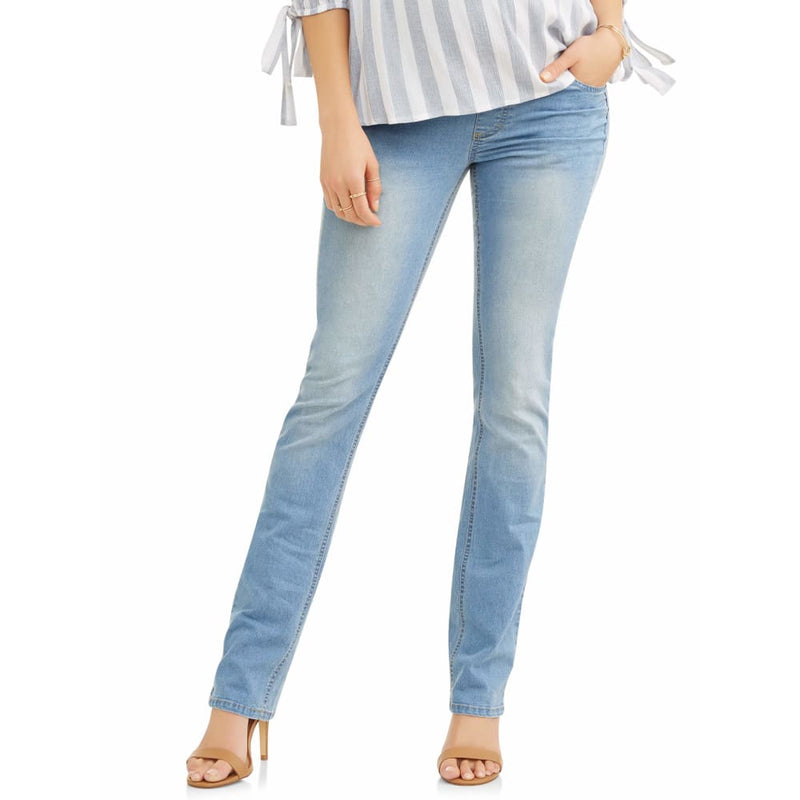 Maternity Oh! Mamma Straight Leg Jeans with Full Panel - L / Light Wash - Clothing