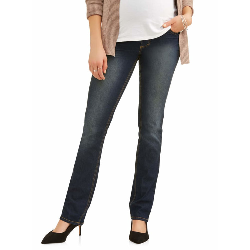 Maternity Oh! Mamma Straight Leg Jeans with Full Panel - XL / Dark Wash - Clothing