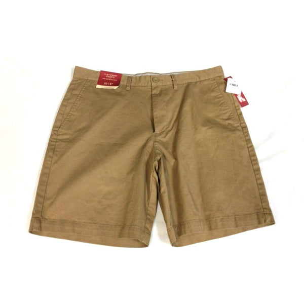 Mens Brown Flat-Front Shorts - Mens clothing