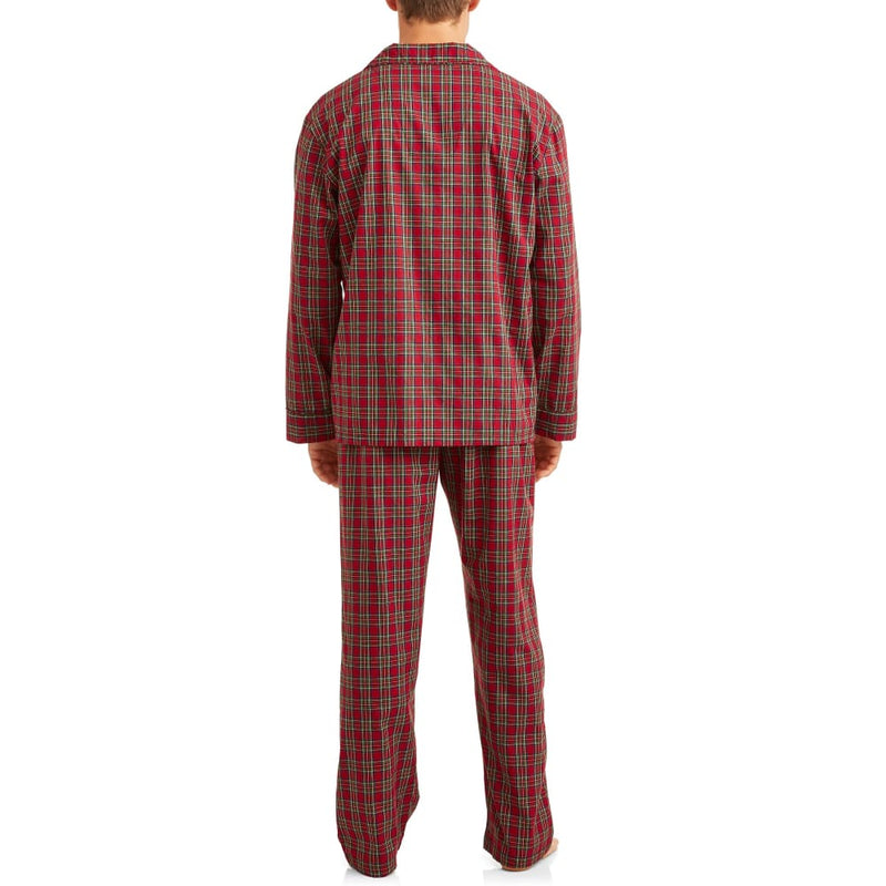 Men's Long Sleeve Long Pant Woven Pajama Set - XL / Red Plaid - Clothing