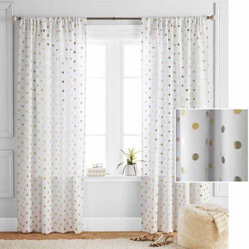 Metallic Polka Dots Single Window Panel - 52 x 84 / Ivory/Gold