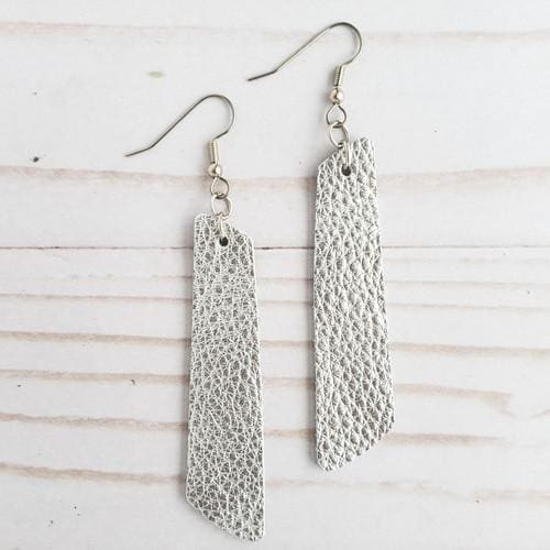 Metallic Silver Leather Bar Earrings - Accessories