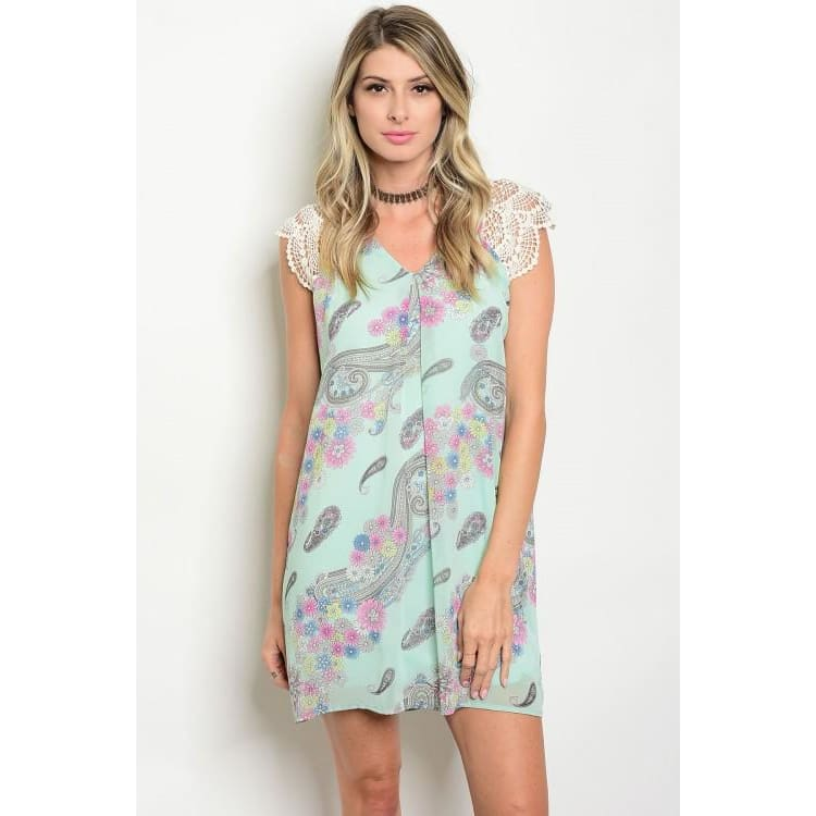 MINT FLORAL PAISLEY DRESS - Keuka Outlet