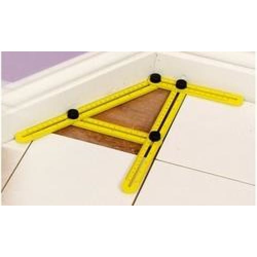 Multi Angle Plastic Ruler Template Tool - Yellow - Home Improvement