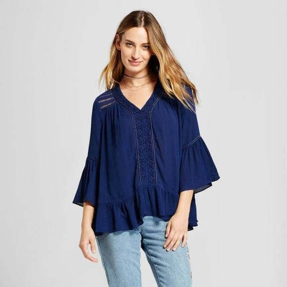 Night Cap Blue Lace Yolk Peasant Blouse - Keuka Outlet