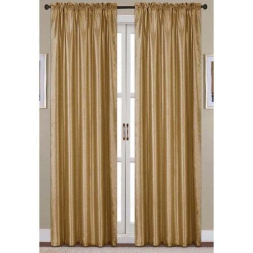 Nikki Faux Silk 54 x 84 in. Rod Pocket Single Curtain Panel, Gold - Keuka Outlet